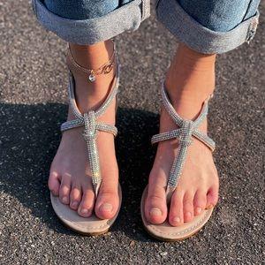 Clear jRhinestone  Strappy sandal